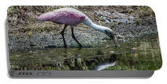 Roseate Spoonbill Reflection No. 3 Portable Battery Charger