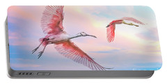 Roseate Spoonbills In Flight. Portable Battery Charger
