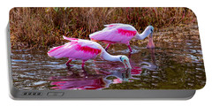 Roseate Spoonbills Swishing For Food Portable Battery Charger