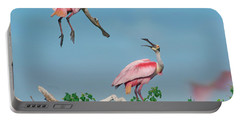 Roseate Spoonbills Portable Battery Charger by Tim Fitzharris