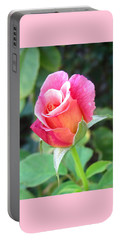 Rosebud With Border Portable Battery Charger by Mary Ellen Frazee