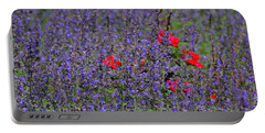 Roses Afloat In A Lavender Sea Portable Battery Charger by Tim Good