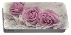 Roses And Beaded Lace Portable Battery Charger by Sandra Foster