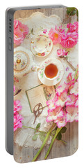 Roses And Gladiolas With Vintage Tea Pot And Cups Portable Battery Charger