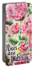 Portable Battery Charger featuring the painting Roses Are Pink by Monique Faella