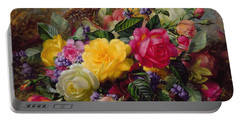Roses By A Pond On A Grassy Bank  Portable Battery Charger by Albert Williams