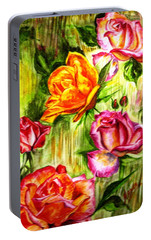 Portable Battery Charger featuring the painting Roses In The Valley  by Harsh Malik