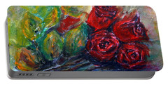 Portable Battery Charger featuring the painting Roses by Jasna Dragun
