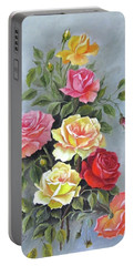 Roses Portable Battery Charger by Katia Aho