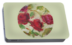 Portable Battery Charger featuring the painting Roses by Mary Wolf