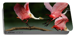 Rosiette Spoonbills Lord Of The Branch Portable Battery Charger by Bob Christopher