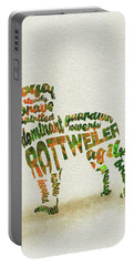 Portable Battery Charger featuring the painting Rottweiler Dog Watercolor Painting / Typographic Art by Inspirowl Design