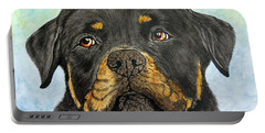 Rottweiler's Sweet Face 2 Portable Battery Charger by Megan Cohen