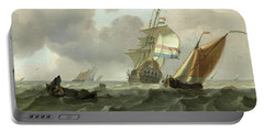 Rough Sea With Ships Portable Battery Charger