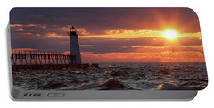 Portable Battery Charger featuring the photograph Rough Water Sunset by Fran Riley