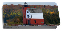 Round Island Lighthouse In October Portable Battery Charger