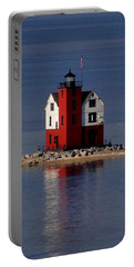 Round Island Lighthouse In The Morning Portable Battery Charger