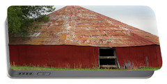 Portable Battery Charger featuring the photograph Round Red Barn by Sheila Brown