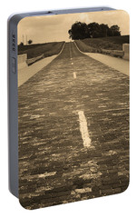 Portable Battery Charger featuring the photograph Route 66 - Brick Highway 2 Sepia by Frank Romeo