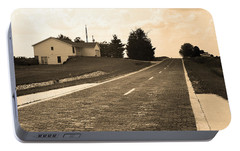Portable Battery Charger featuring the photograph Route 66 - Brick Highway Sepia by Frank Romeo