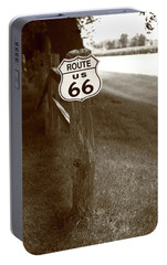 Portable Battery Charger featuring the photograph Route 66 Shield And Fence Sepia Post by Frank Romeo