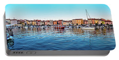 Rovinj Harbor And Boats Panorama Portable Battery Charger