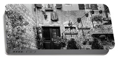 Rovinj Old Town Courtyard In Black And White, Rovinj Croatia Portable Battery Charger