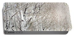 Row Of White Birch Trees Portable Battery Charger