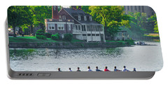 Portable Battery Charger featuring the photograph Rowing Crew In Philadelphia In The Spring by Bill Cannon