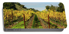 Rows Of Grapevines In Napa Valley California Portable Battery Charger