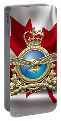 Royal Canadian Air Force Badge Over Waving Flag Portable Battery Charger