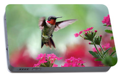 Ruby Garden Jewel Portable Battery Charger by Christina Rollo