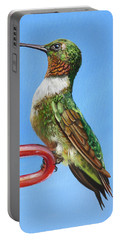 Portable Battery Charger featuring the painting Ruby Throat Hummingbird  by Phyllis Beiser