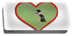 Ruby-throated Hummingbird In Heart Portable Battery Charger