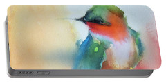 Ruby Throated Hummingbird On A Red Hot Poker Flower Wip Portable Battery Charger