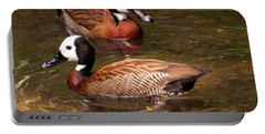 Portable Battery Charger featuring the digital art White-faced Whistling Duck by Chris Flees