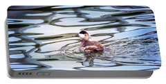 Ruddy Duck Swiimming In A Pond With Autumn Reflections Portable Battery Charger