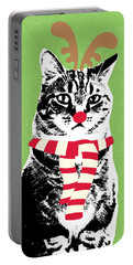 Rudolph The Red Nosed Cat- Art By Linda Woods Portable Battery Charger
