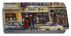 Rue Peel Montreal Winter Street Scene Paintings Peel Pub Cafe Republique Hockey Scenes Canadian Art Portable Battery Charger