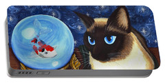 Portable Battery Charger featuring the painting Rue Rue's Fortune - Siamese Cat Koi by Carrie Hawks