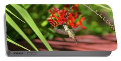 Rufous Hummingbird Feeding On Flower Nectar Portable Battery Charger