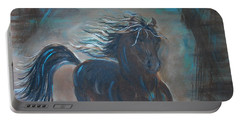Portable Battery Charger featuring the painting Run Horse Run by Leslie Allen