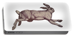 Portable Battery Charger featuring the drawing Running Bunny Jan 27 by Donna Huntriss