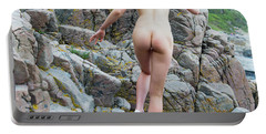 Running Nude Girl On Rocks Portable Battery Charger