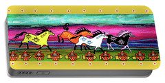 Portable Battery Charger featuring the painting Running Free by Debbie Chamberlin
