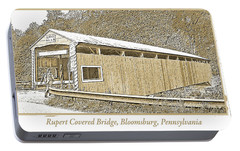 Portable Battery Charger featuring the digital art Rupert Covered Bridge Bloomburg Pennsylvania by A Gurmankin