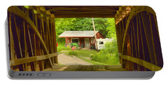 Rural Indiana Through A Covered Bridge Portable Battery Charger