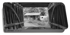 Rural Indiana Through A Covered Bridge Black And White Portable Battery Charger