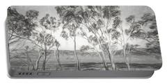 Rural Landscape Pencil Sketch Portable Battery Charger