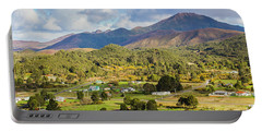 Rural Landscape With Mountains And Valley Village Portable Battery Charger